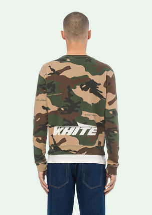 Off-White Sweatshirts Crew Neck Camouflage Street Style Long Sleeves Cotton 6