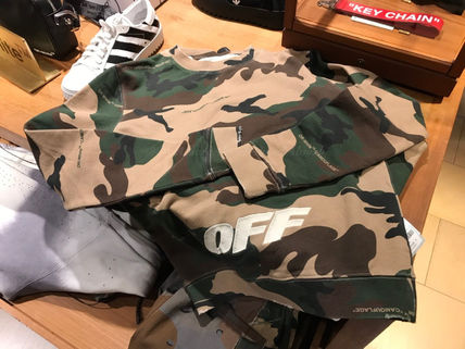 Off-White Sweatshirts Crew Neck Camouflage Street Style Long Sleeves Cotton 8