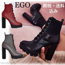 EGO Casual Style Faux Fur Plain Block Heels