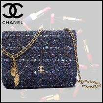 CHANEL Blended Fabrics Chain Plain Party Style Khaki Shoulder Bags
