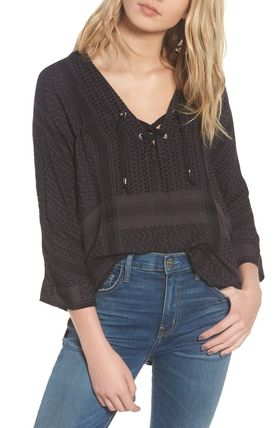Casual Style Cropped Medium Shirts & Blouses