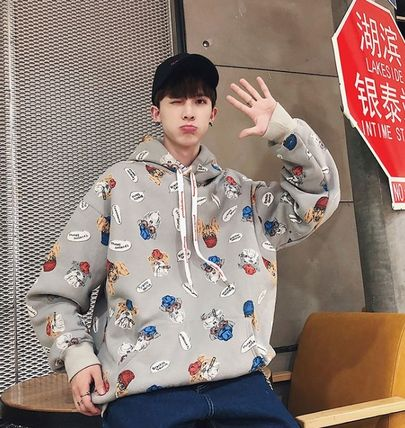 Hoodies Pullovers Street Style Long Sleeves Other Animal Patterns 16