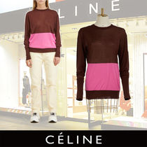 CELINE Crew Neck Casual Style Silk Bi-color Long Sleeves Medium