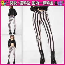 DOLLS KILL Stripes Casual Style Cotton Skinny Jeans