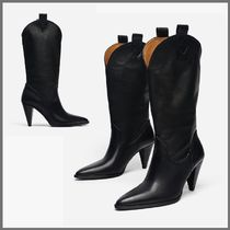 Uterque Cowboy Boots Casual Style Plain Leather High Heel Boots