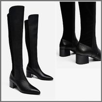 Uterque Suede Plain Block Heels Elegant Style Over-the-Knee Boots