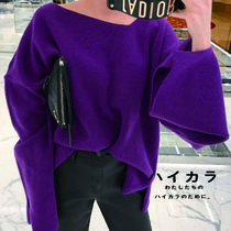 Casual Style Wool V-Neck Long Sleeves Plain Medium Oversized