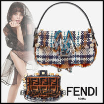 FENDI Tartan Casual Style Fringes With Jewels Shoulder Bags
