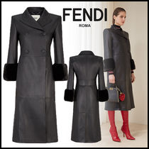 FENDI Plain Leather Long Elegant Style Coats
