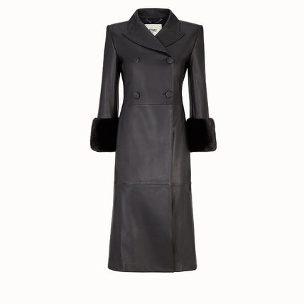 Plain Leather Long Elegant Style Coats