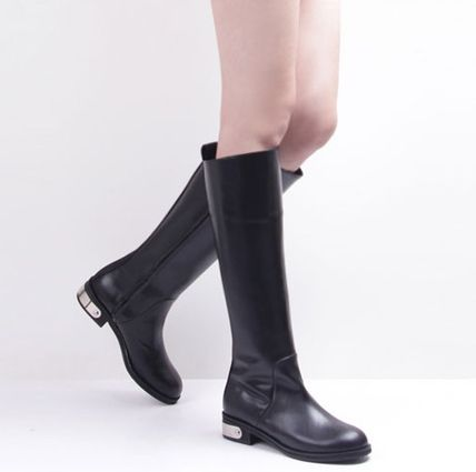 Round Toe Casual Style Plain Leather Block Heels
