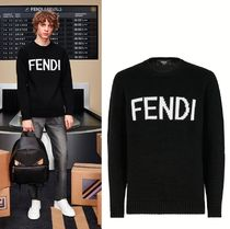 FENDI Crew Neck Cable Knit Casual Style Unisex Wool Long Sleeves