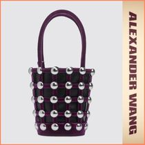 Alexander Wang Studded Leather Party Style Straw Bags