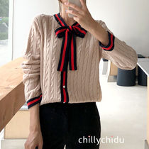 Cable Knit Stripes Long Sleeves Medium Elegant Style