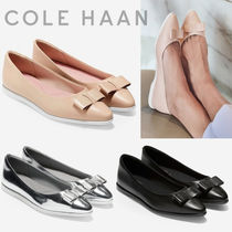 Cole Haan ZEROGRAND Rubber Sole Plain Leather Elegant Style Pointed Toe Shoes