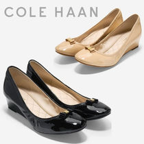 Cole Haan Round Toe Plain Leather Elegant Style Wedge Pumps & Mules