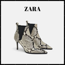 ZARA Casual Style Other Animal Patterns Leather Pin Heels Python