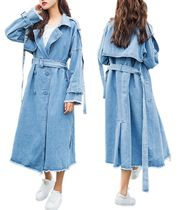 Casual Style Denim Plain Long Peacoats
