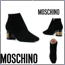 Moschino Casual Style Street Style Plain Leather Block Heels