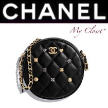 CHANEL MATELASSE Heart Lambskin Studded 2WAY Chain Plain With Jewels