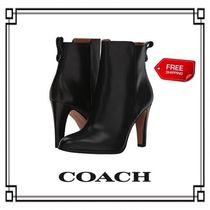 Coach Flower Patterns Lace-up Casual Style Plain Lace-up Boots