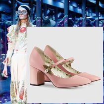 GUCCI Flower Patterns Plain Leather Elegant Style Chunky Heels