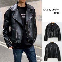 Short Street Style Plain Leather Oversized Biker Jackets