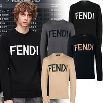 FENDI Crew Neck Wool Long Sleeves Plain Knits & Sweaters