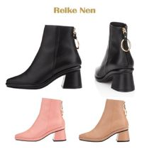 Reike Nen Plain Leather Block Heels Ankle & Booties Boots