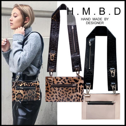 Leopard Patterns Casual Style Blended Fabrics Plain Leather