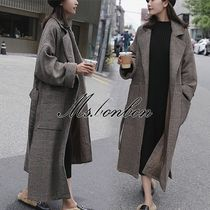 Other Check Patterns Long Elegant Style Wrap Coats