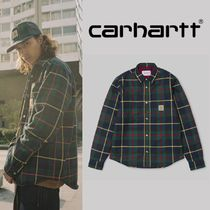 Carhartt Button-down Tartan Unisex Street Style Long Sleeves Cotton