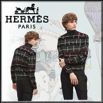 HERMES Cashmere Street Style Bi-color Long Sleeves Knits & Sweaters