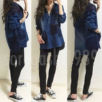 Casual Style Denim Long Sleeves Plain Medium Oversized
