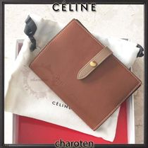 CELINE Strap Unisex Calfskin Bi-color Plain Wallets & Small Goods