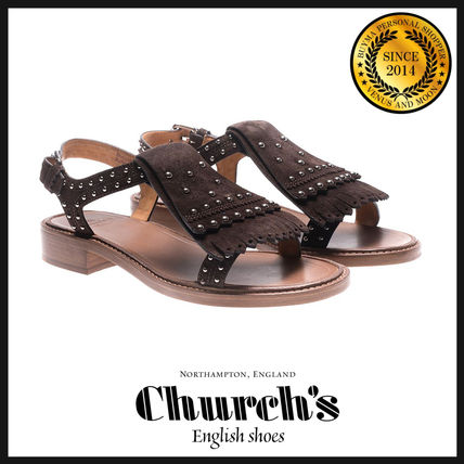 Open Toe Suede Studded Plain Elegant Style Sandals