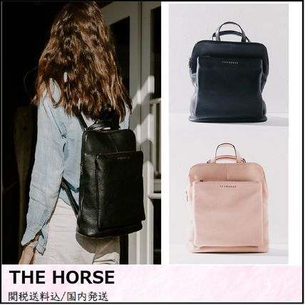 2WAY Plain Leather Office Style Backpacks