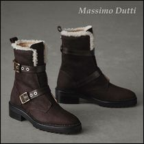 Massimo Dutti Rubber Sole Casual Style Leather Ankle & Booties Boots