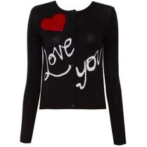 Alice+Olivia Cable Knit Heart Wool Long Sleeves Plain Medium