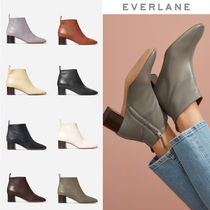 Everlane Plain Leather Elegant Style Chunky Heels