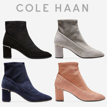 Cole Haan Round Toe Casual Style Suede Plain Chunky Heels
