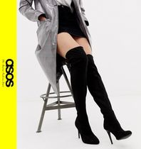 ASOS Casual Style Faux Fur Pin Heels Over-the-Knee Boots
