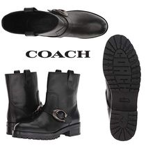 Coach Round Toe Rubber Sole Blended Fabrics Plain Leather