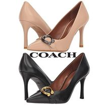 Coach Plain Leather Pin Heels Pointed Toe Pumps & Mules