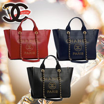 CHANEL 2WAY Leather Office Style Handbags