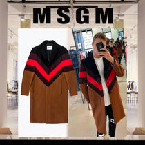 MSGM Stripes Wool Plain Long Chester Coats