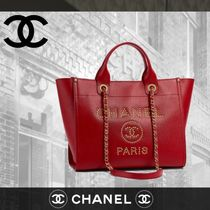 CHANEL DEAUVILLE Calfskin Blended Fabrics Studded A4 Elegant Style Totes