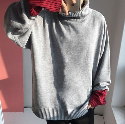 Knits & Sweaters Pullovers Wool Street Style Bi-color Long Sleeves Plain 3