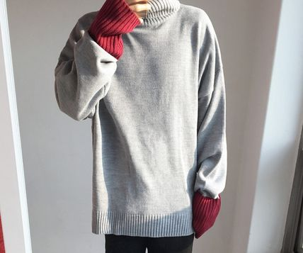 Knits & Sweaters Pullovers Wool Street Style Bi-color Long Sleeves Plain 4