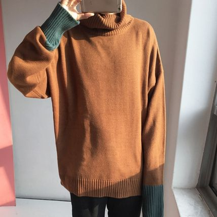 Knits & Sweaters Pullovers Wool Street Style Bi-color Long Sleeves Plain 5